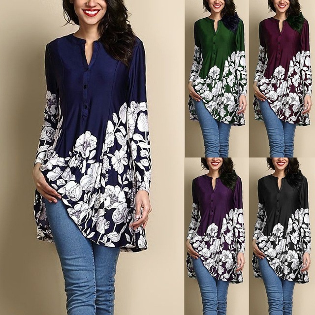2018 Autumn Winter Women Sexy V-Neck Shirt Casual Long Sleeve Tops Ladies Fashion Printing Loose Women Clothing Plus Size Blouse