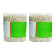 1000 шт Двойной День рождения еда Ресторан бамбуковая деревянная зубочистка цилиндрическая Коробочная Фруктовые палочки для вечеринки KitchenCraft коктейль