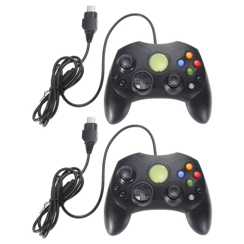 2Pcs/Lot Black Wired Game Controller Professional Gamepad Joystick Game Handle Joypad Game Control for Microsoft XBOX System 50pcs a lot black wired usb game controller classic joypad for sega for saturn