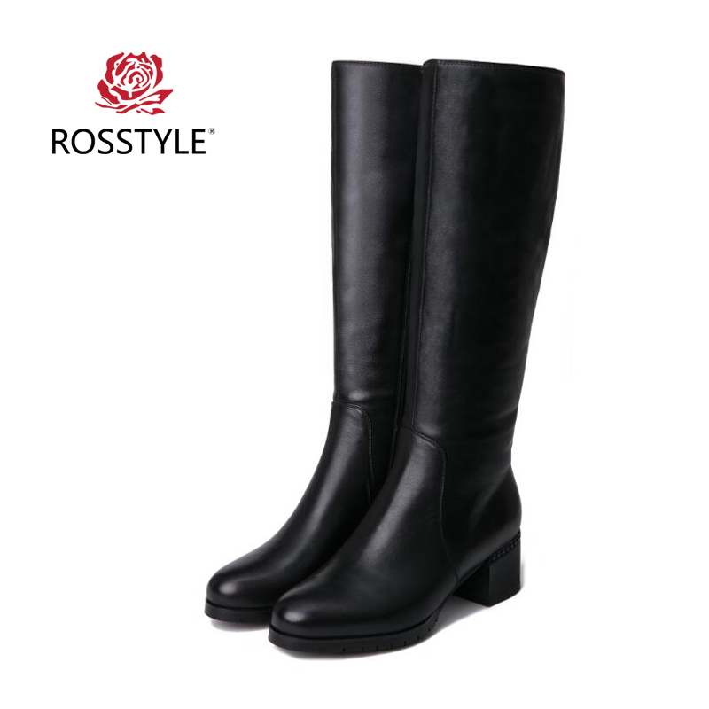 Rosstyle Winter Knee Excessive Boots Real Cow Leather-based Girls Boots Women Lengthy Black Boots Girls Horny Footwear Excessive High quality 5Cm Heelh2