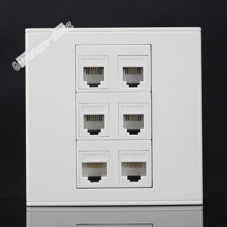 Wall Socket Plate 6 Ports Four Ports RJ11 Telephone Phone Plug & RJ45 Cat5e Network LAN Panel Faceplate 86x86mm Wholesale Lots 50pcs rj11 socket telephone 90 degrees 6pin crystal female 95001 6p6c socket