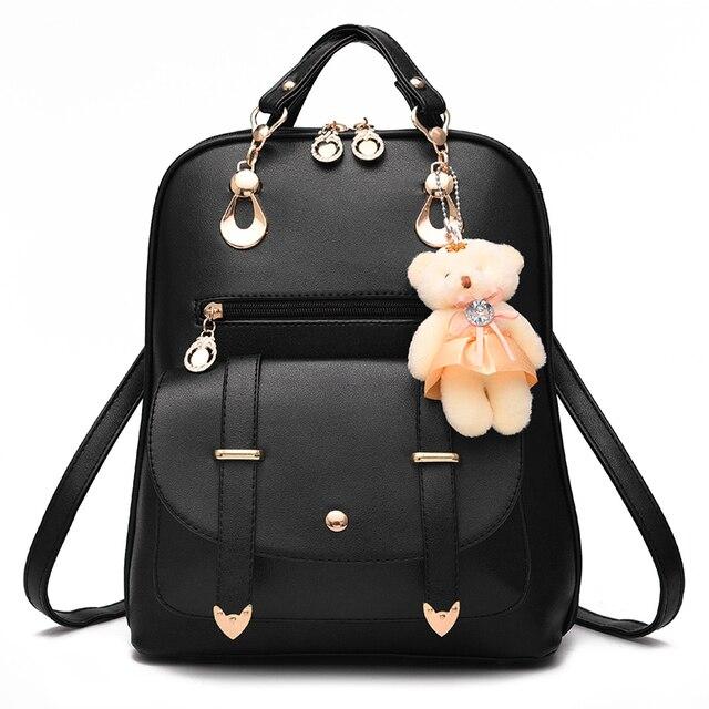 Us 21 92 10 Off 2019 Korean Style Cheap Women High Quality Cute Orthopedic Backpack With Bear School Bag For Teens Girls Black Dames Rug Tassen In