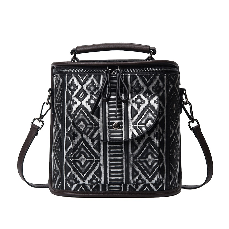 ФОТО 2017 Spring Fashion National Bag Female Bucket Bag Designer Checkered Embossed Faux Leather Handbag Ethnic Women Crossbody Bags