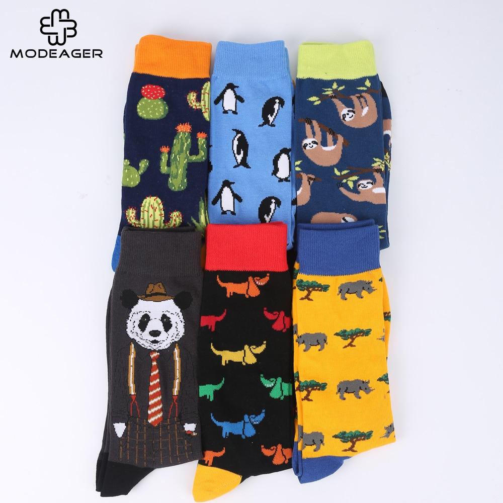 Modeager Brand Cactus Panda Monkey Pattern Hip hop Cool Socks for Men Winter Thick Long Skate Funny Socks Colorful