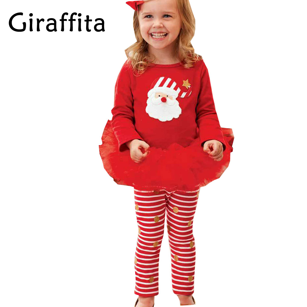 Girls Christmas Outfits Red Shirt+Stripe Dot Pants Leggings 2pcs ...