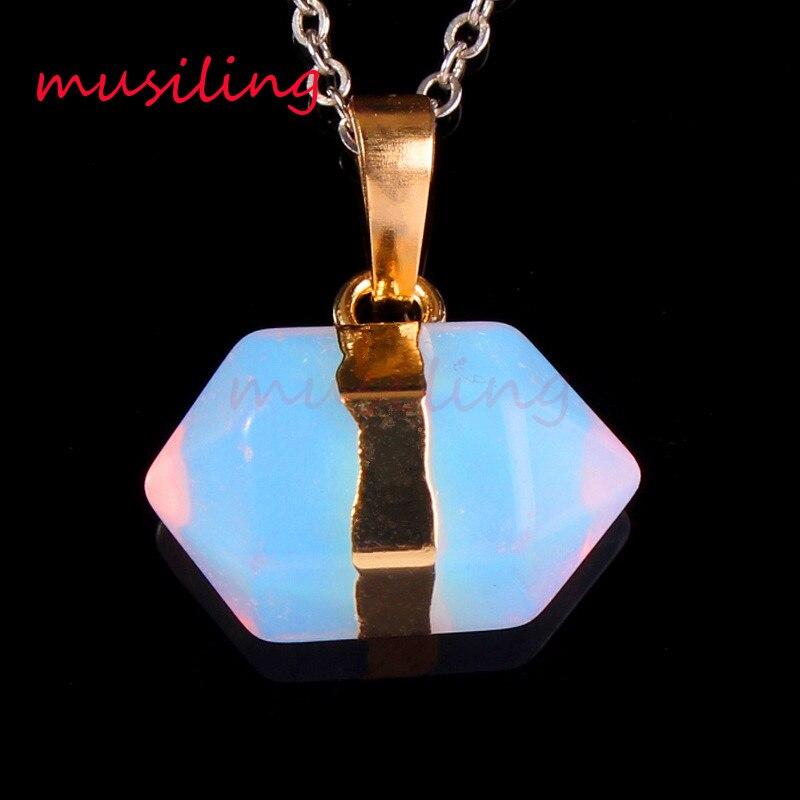 f6a86aab63d5 Piedra natural hexágono prisma doble punto Reiki péndulo Colgantes cadena  collar Amuletos salud amuleto moda joyería 1 unids