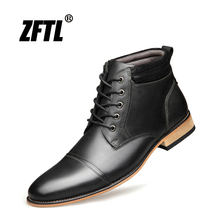 ZFTL New Men Martins Boots Genuine Leather Man Ankle boots Big size Lace-up casual boots Men Handmade shoes Black /Brown   003 цена