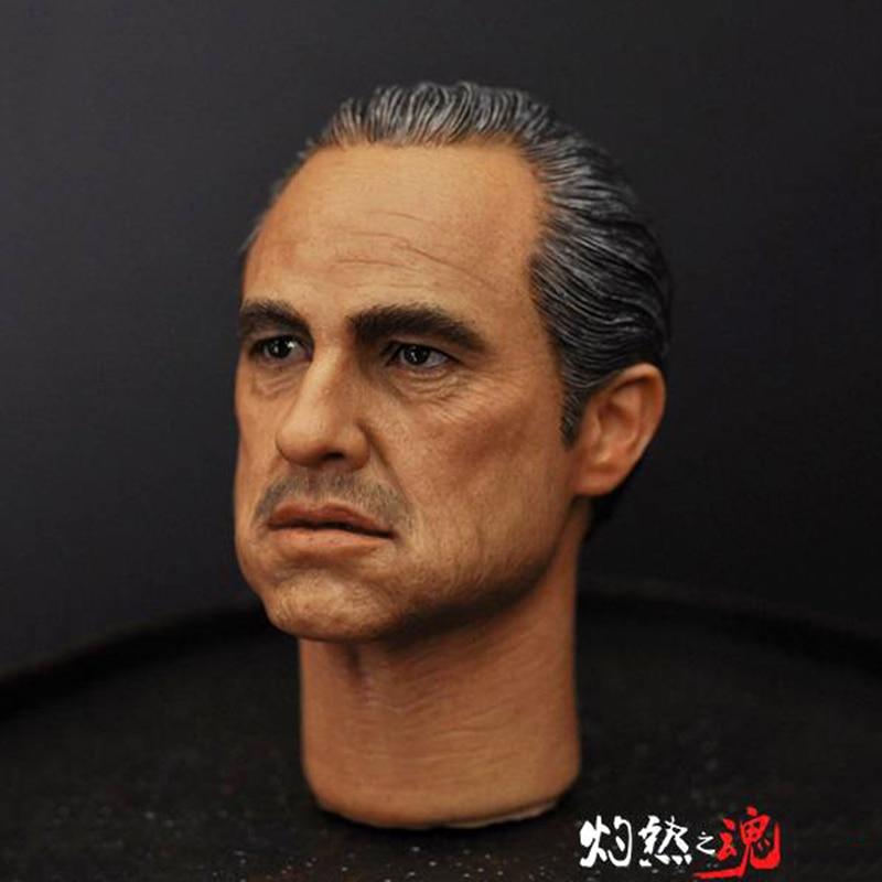 Head Sculpt 1/6 Scale Male Head Al Pacino Marlon Brando The Godfa Head Sculpt Model  PVC Toys Fit 12