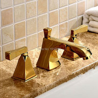 2016 Factory Direct Solid Brass 8 Widespread 3pcs Widespread Lavatory Sink Basin Faucet Mixer Tap Gold Pvd Color