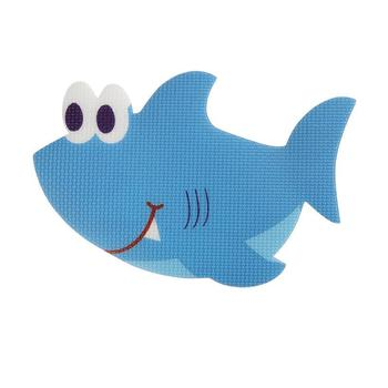5pcs Bath Tub Non Slip Safety Treads Sticker Shark Shaped Bathroom Applique Decal (Blue)