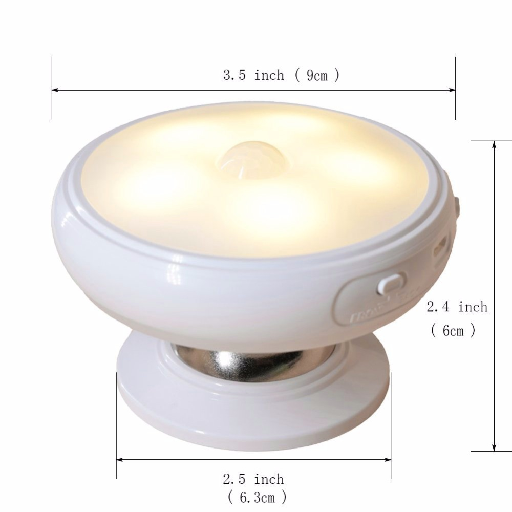 Rechargeable Motion Sensor PIR Wireless Small LED Light Automatic Baby Kids Night Wall Lamp for Children Room Stairs Furniture
