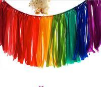 39.3 inch Wedding banner decoratie satijnen lint kwastje guirlande verjaardagsfeestje decor kleurrijke regenboog feestelijke kerst benodigdheden