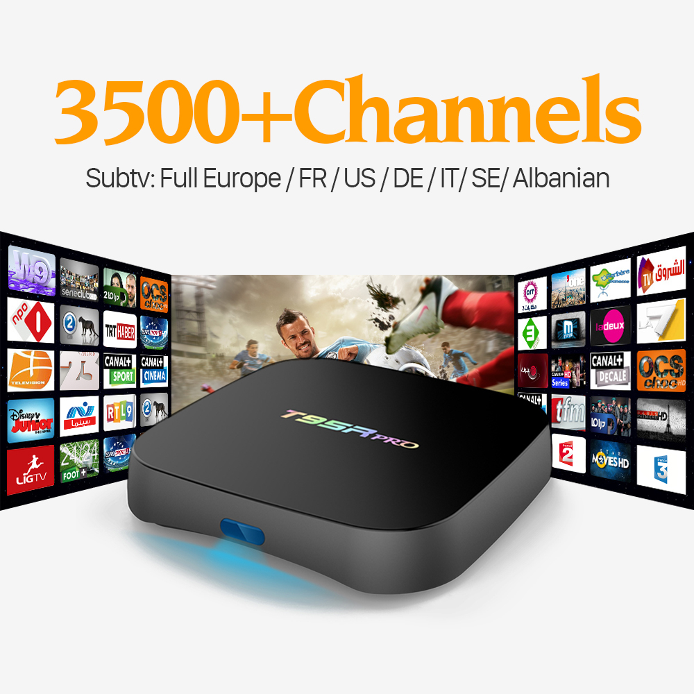 T95Rpro Android Tv Box Amlogic S912 Octa Ядро WI-FI HD Smart TV Set Top Box с 3500 + Россия США Бразилия EX-YU Sport Media Player