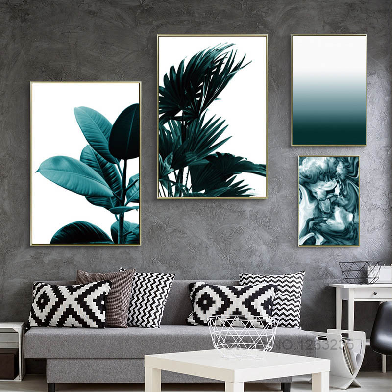 Zwart Groen Blad Nordic Poster Kunst aan de muur Kunst Canvas - Huisdecoratie