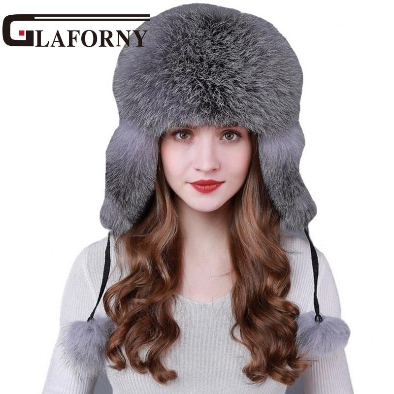 Glaforny 2018 Super Luxury Fox Fur Hat Winter Ushanka Cossack Bomber Cap  with Fur Earmuff Warm Russian Women Leifeng Hats a262d8009041