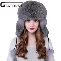 Glaforny 2018 Super Luxury Fox Fur Hat Winter Ushanka/Cossack Bomber Cap with Fur Earmuff Warm Russian Women Leifeng Hats
