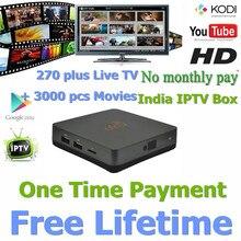 Envío gratis Nueva Gratuitas de Por Vida Completo Android HD TV Box India IPTV, 271 canales de IPTV Indio con Caja HD TV IP Canal India