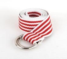 Silver Buckle Canvas Stripes Decorative Belt