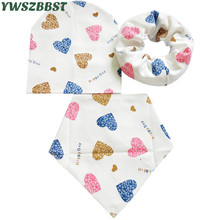 2pcs/set Lovely Baby hat and bib set Autumn Winter Warm Bibs Cotton Cap Child Scarf Collar Infant Hat Set Kids Caps