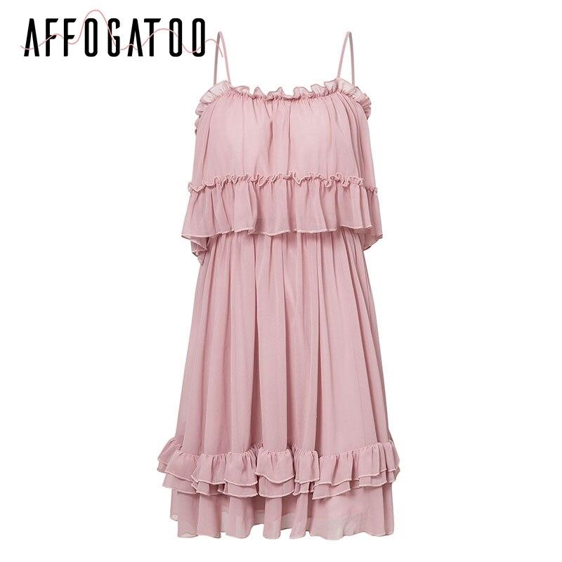Affogatoo Elegant ruffle off shoulder strap summer pink dress women Casual chiffon pleated blue dress Loose holiday short dress 7