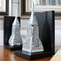 To Import New American Architect India Aluminum Art Deco The Empire State Building Wooden Bookends Set