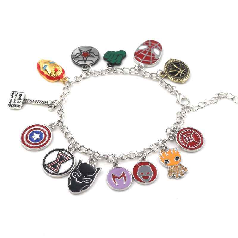 The Avengers Bracelets Black Panther Captain America Doctor Strange Deadpool Thor Hammer Shield Set Charms Enamel Charm Jewelry