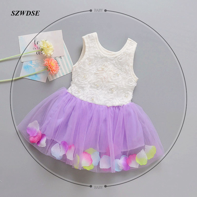 Children's summer dress girls' Inlaid pearls Voile sleeveless Voile cotton Lolita style bow O-neck ball-gown dresses 2-5 years