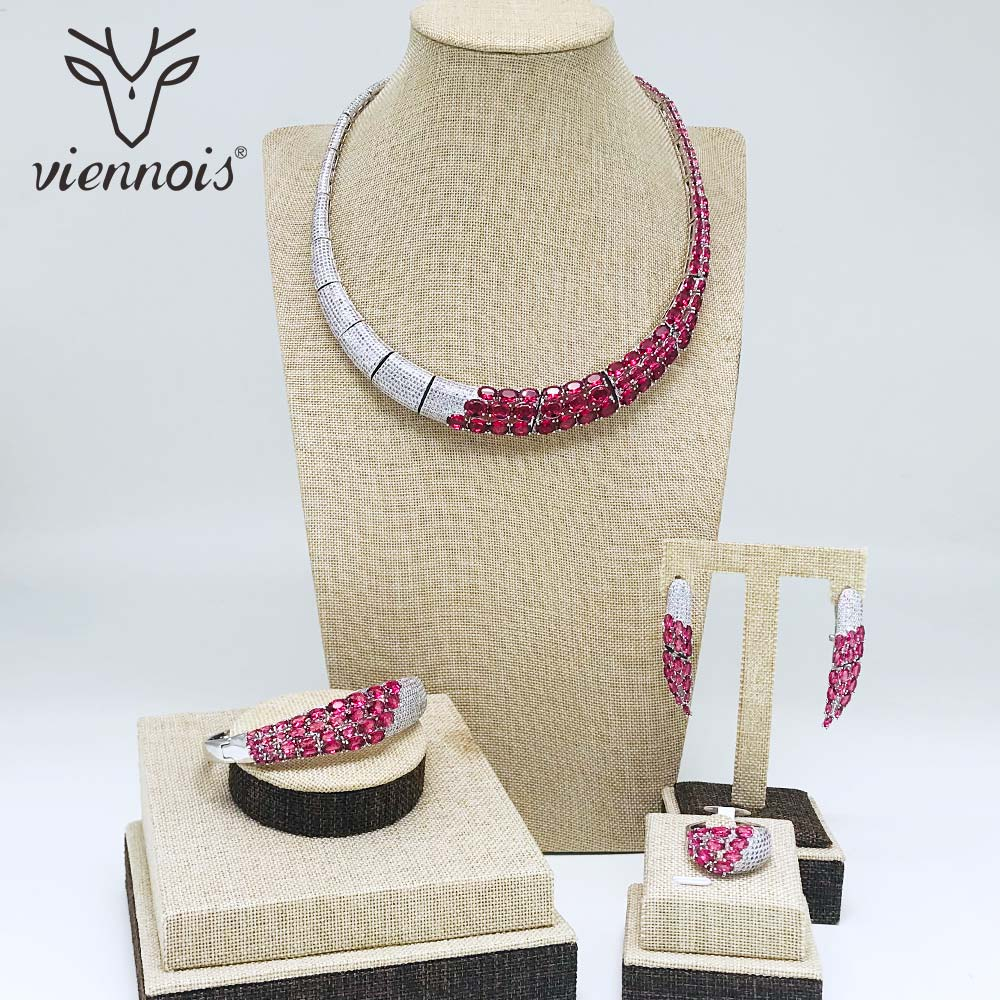 Viennois Silver / Red Color Necklace Set For Women Rhinestone Dangle Earrings Ring Bracelet Set Party Jewelry Set 2019Viennois Silver / Red Color Necklace Set For Women Rhinestone Dangle Earrings Ring Bracelet Set Party Jewelry Set 2019