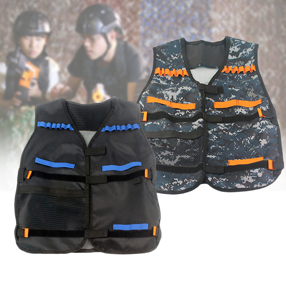 Outdoor Horse Riding Vest Security Guard Children Kids Black Tactical Vest Jacket Waistcoat Tool Holder Toy Clip Darts