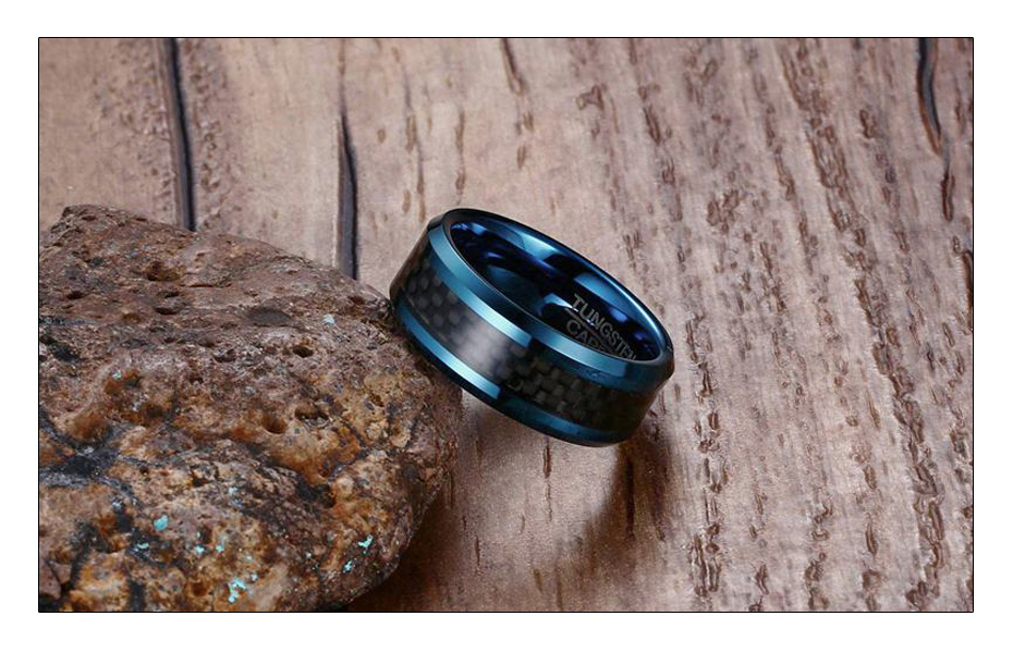 Meaeguet Trendy 8MM Blue Tungsten Wedding Bands For Men With Black Carbon Fiber Tungsten Carbide Ring Jewelry USA Size (6)
