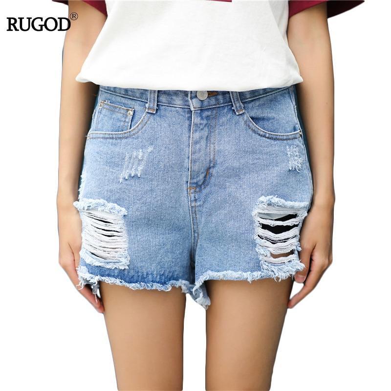 Rugod Ripped Short Jeans Women 2017 Summer New Korean Denim Shorts Femme High Waist Shorts Light Blue Frayed Fringed Short Mujer stylish denim ripped shorts for women
