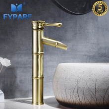 FYPARF Single Handle Bathroom Faucet Basin Mixer Washbasin Tap Brushed Gold Faucet Deck Mount Waterfall Spout Tall Basin Faucet стоимость