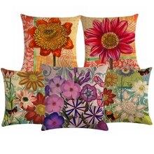 Funda de almohada decorativa Retro de flores para sofá de Estilo Vintage silla de oficina funda de cojín de lino de algodón