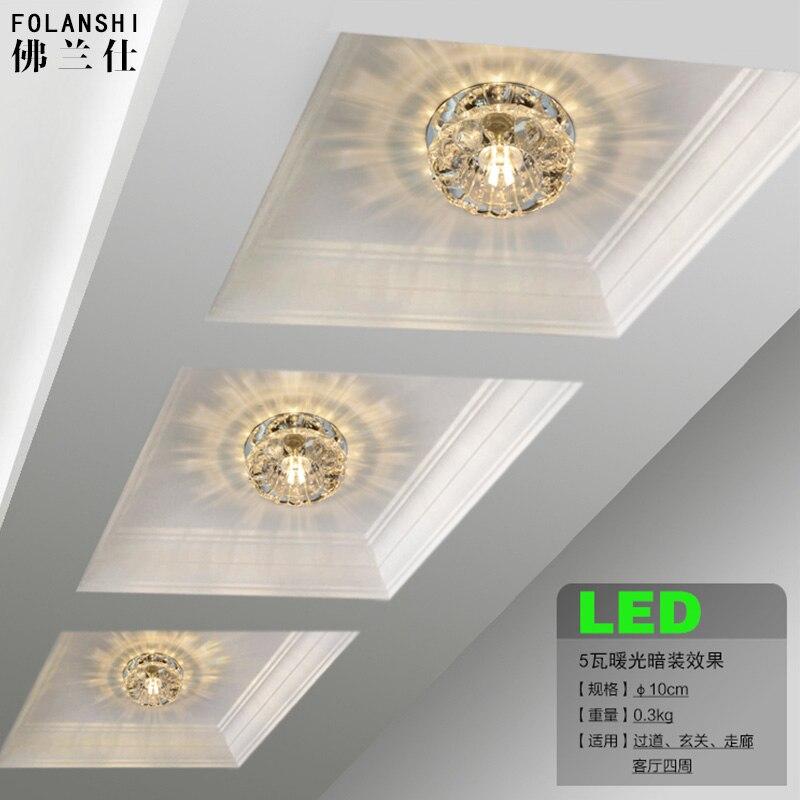 2016 1 шт. LED лампа для освещения коридоров крыльца лампа кристалл потолочный светильник отверстие комнаты лампа 3 Вт SD126