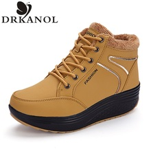 2016 Winter Warm Women Casual Shoes Slimming Shoes Women Fashion Fitness Lady Swing Shoes Height Increasing Wedges Shoes