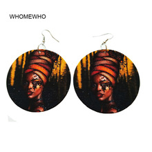 Bohemia Wood Africa Butterfly Black Crown Queen Rock Earrings Vintage Wooden African Hiphop Ethnic Tribal Party Club Ear Jewelry