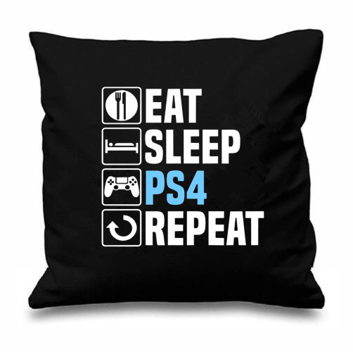 novelty game gift letter eat sleep ps4 playstation repeat cushion cover geek funny gaming gamer