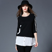 European Will Code Suit-dress Fat Mm Spring Clothes Pattern T6957 Chiffon Joint Round Neck Seven Part T Pity Blouse