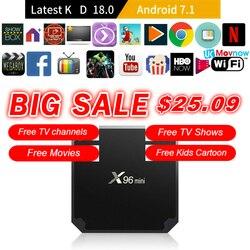 TTVBOX X96 Mini Android TV BOX Android 7.1 OS 1GB/8GB 2GB/16GB Amlogic S905W Quad Core 4K 2.4GHz WiFi Smart TV BOX Media player