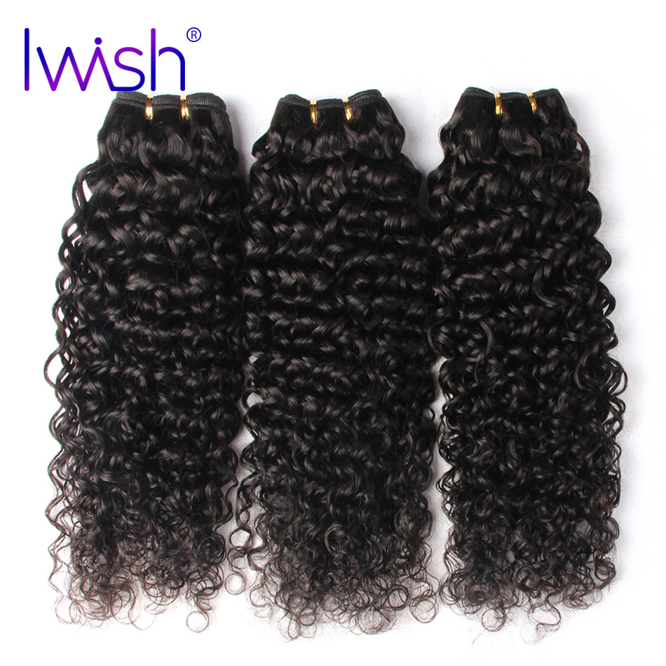 Iwish Hair Malaysian Curly Hair Weave Bundles 100% Human Hair Natural Black Color Non Remy Hair Extensions Free Shipping