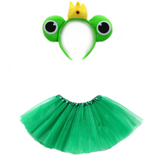 Frog Prince Girl Cosplay Costume Headband Tutu Skirt Set  Kids Children Women Birthday Party Props Halloween Christmas Gift