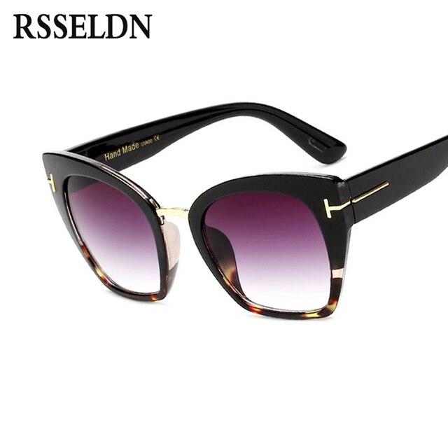 fd3c044c922f1 RSSELDN Moda Oversize Cat Eye Óculos De Sol Das Mulheres de Verão Senhoras  de Alta Qualidade