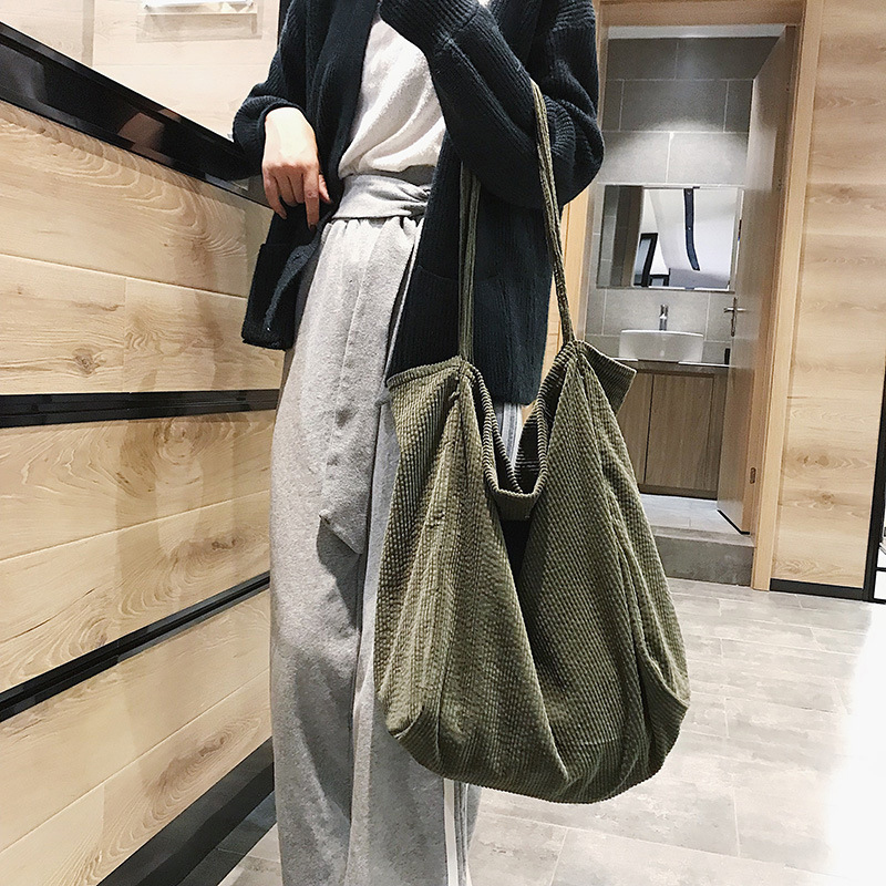 Vintage Corduroy Bag Women Printing Handbag Casual Shoulder Bags for Women 2019 Foldable Reusable Shopping Bags Lady Big Tote
