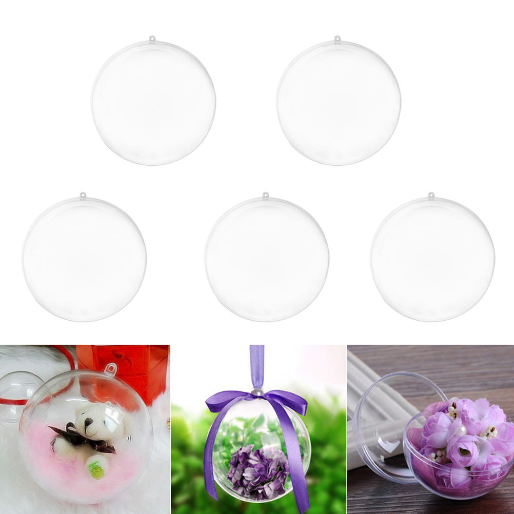 5pcs Pack Transparent Ball Christmas Tree Pendant Ornaments Xmas Hanging Decoration Bauble Candy Confetti Gift Box Holder in Pendant Drop Ornaments from Home Garden