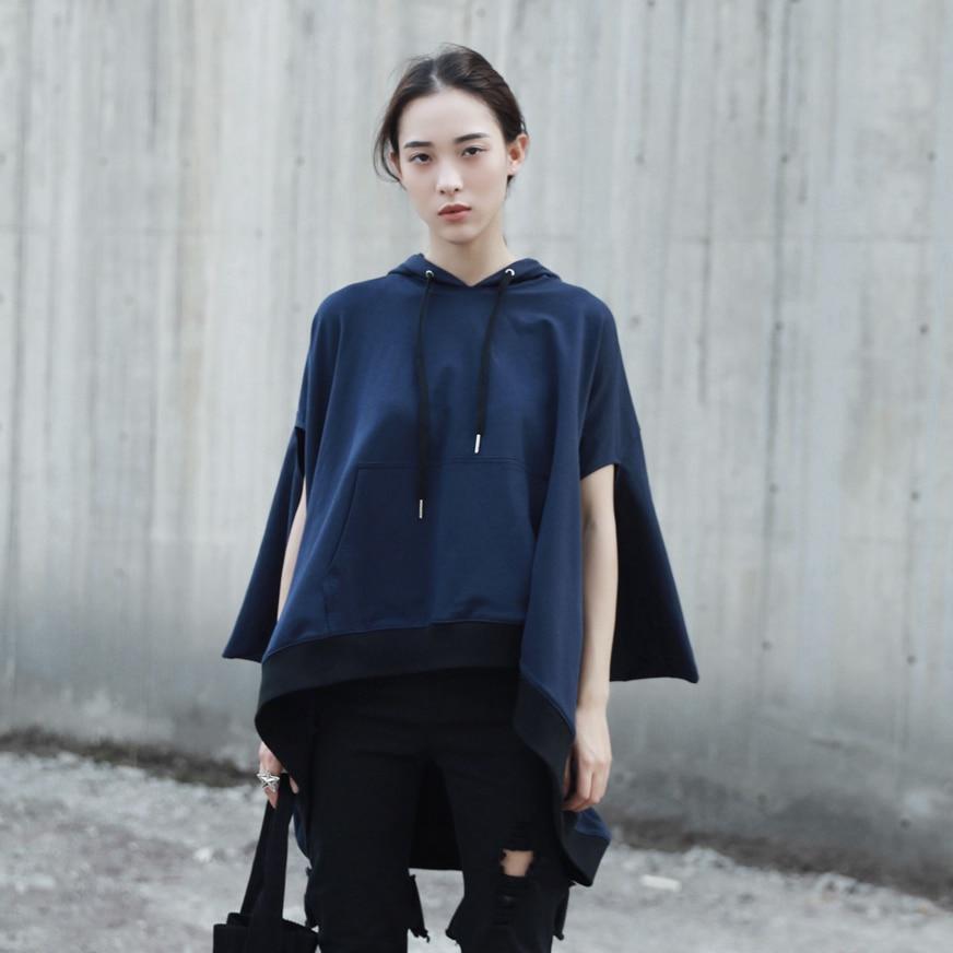 Cakucool New Design Women Poncho Sweatshirt Sleeveless Hooded Cloak Pullovers Asymmetric Loose Oversize Female Cape Hoodies