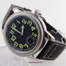 44mm parins Black dial Luminous Marks Stainless steel Case coin bezel 6498 Movement hand winding Mechanical Men's business Watch