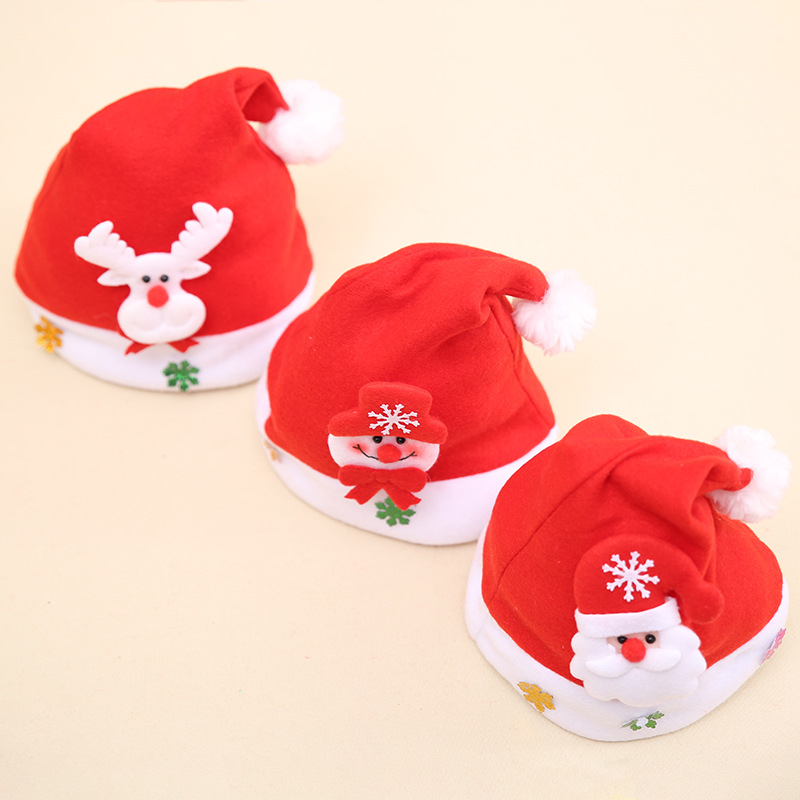 Home & Garden New Xmas Baby Boy Girls Plush Santa Claus Snowman Elk Merry Chrismas Applique Cartoon Cap Kids Hat For Kids Party New Year Gift To Help Digest Greasy Food