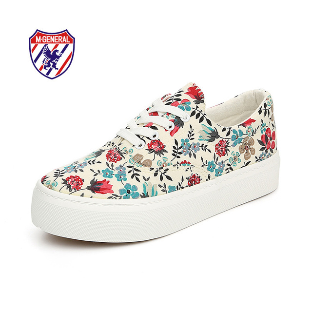 M.GENERAL New 2016 Women Fashion Canvas Casual Floral Shoes Platforms Lace-Up Low-cut Spring Autumn Solid Chaussure Femme M608