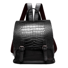 Women Famous brand designer backpack Luxury pu leather backpacks small Girl School Bag Ladies Handle crocodile pattern backpacks