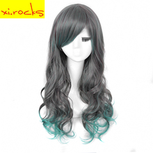 3028A Gray Mixed Light Green Ombre Long Curly Synthetic Wigs for Women Spiral Hair Lolita High Temperature Fiber Free Shipping